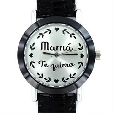 Picture of RELOJ MY LIFE MAMÁ TE QUIERO CON BISEL NEGRO DE 32MM