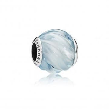 Picture of CHARM PLATA CRISTAL AZUL OLA