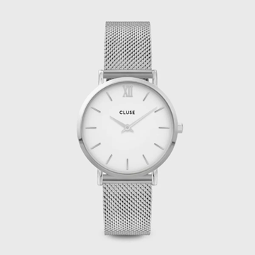 Picture of RELOJ CLUSE MINUIT ACERO 33MM ESF BLANCA MESH SILVER