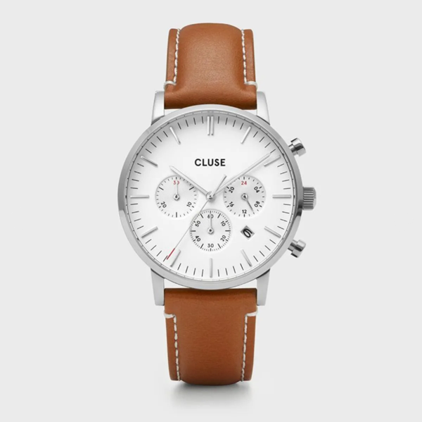 Picture of CLUSE Aravis chrono leather silver white/light brown 40mm.