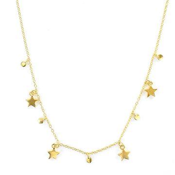 Picture of Gargantilla de plata chapada 5 micras cadena con 5 estrellas y puntos