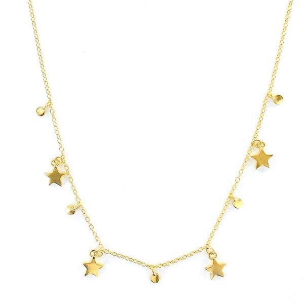 Foto de Gargantilla de plata chapada 5 micras cadena con 5 estrellas y puntos