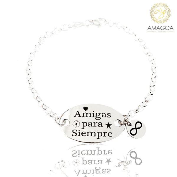 Picture of Pulsera plata con cadena rolot. Placa Amigas para siempre