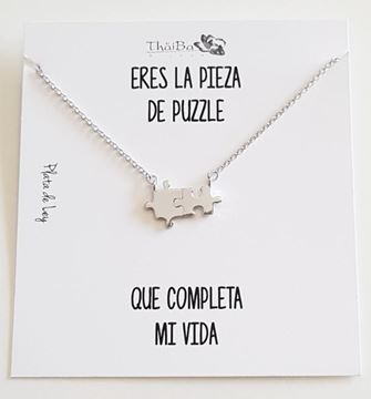 Picture of COLLAR PLATA PUZZLE LISO RODIO