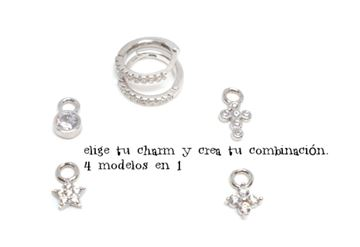 Picture of PENDIENTES 4 CHARMS INTERCAMBIABLES CIRC RODIO