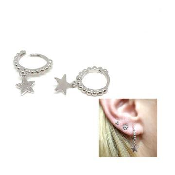 Picture of Pendientes aros con bolitas con colgante estrella plata rodeado